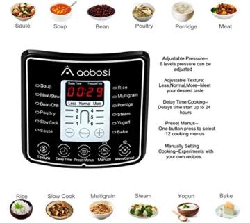 Aobosi 8-in-1 Elektrischer Schnellkochtopf Mehrfach Multi-Reiskocher mit 6 einstellbare Druckstufen,Warmhaltefunktion, 24 Stunden Timer und Kostenlos Zubehör|Kochtopf aus Edelstahl 6L/1000W - 2