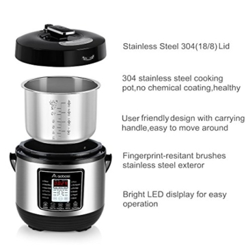Aobosi 8-in-1 Elektrischer Schnellkochtopf Mehrfach Multi-Reiskocher mit 6 einstellbare Druckstufen,Warmhaltefunktion, 24 Stunden Timer und Kostenlos Zubehör|Kochtopf aus Edelstahl 6L/1000W - 3