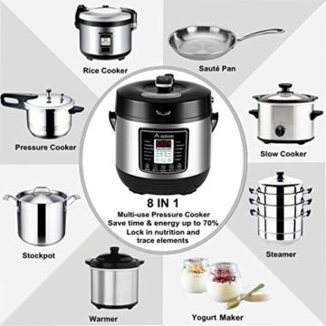 Aobosi 8-in-1 Elektrischer Schnellkochtopf Mehrfach Multi-Reiskocher mit 6 einstellbare Druckstufen,Warmhaltefunktion, 24 Stunden Timer und Kostenlos Zubehör|Kochtopf aus Edelstahl 6L/1000W - 4