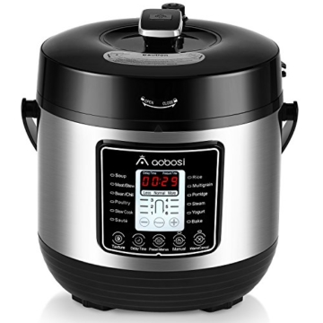 Aobosi 8-in-1 Elektrischer Schnellkochtopf Mehrfach Multi-Reiskocher mit 6 einstellbare Druckstufen,Warmhaltefunktion, 24 Stunden Timer und Kostenlos Zubehör|Kochtopf aus Edelstahl 6L/1000W - 1