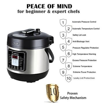 Aobosi 8-in-1 Elektrischer Schnellkochtopf Mehrfach Multi-Reiskocher mit 6 einstellbare Druckstufen,Warmhaltefunktion, 24 Stunden Timer und Kostenlos Zubehör|Kochtopf aus Edelstahl 6L/1000W - 5