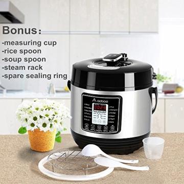 Aobosi 8-in-1 Elektrischer Schnellkochtopf Mehrfach Multi-Reiskocher mit 6 einstellbare Druckstufen,Warmhaltefunktion, 24 Stunden Timer und Kostenlos Zubehör|Kochtopf aus Edelstahl 6L/1000W - 7