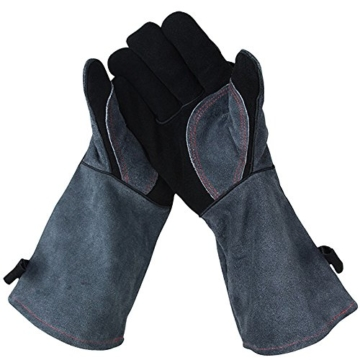 APOGO Ofenhandschuhe Backhandschuhe Grillhandschuhe Handschuhe 1 Paar Leder Grill Handschuhe 41x15X1.5cm Wildleder, mit Aufhängung, Topflappen für Küche und Grill Grillplatz Mikrowelle Handschuhe Schweißen - 2