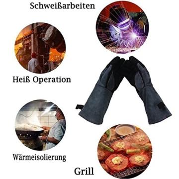 APOGO Ofenhandschuhe Backhandschuhe Grillhandschuhe Handschuhe 1 Paar Leder Grill Handschuhe 41x15X1.5cm Wildleder, mit Aufhängung, Topflappen für Küche und Grill Grillplatz Mikrowelle Handschuhe Schweißen - 3