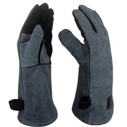 APOGO Ofenhandschuhe Backhandschuhe Grillhandschuhe Handschuhe 1 Paar Leder Grill Handschuhe 41x15X1.5cm Wildleder, mit Aufhängung, Topflappen für Küche und Grill Grillplatz Mikrowelle Handschuhe Schweißen - 1