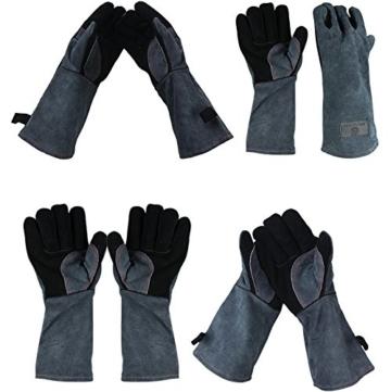 APOGO Ofenhandschuhe Backhandschuhe Grillhandschuhe Handschuhe 1 Paar Leder Grill Handschuhe 41x15X1.5cm Wildleder, mit Aufhängung, Topflappen für Küche und Grill Grillplatz Mikrowelle Handschuhe Schweißen - 4