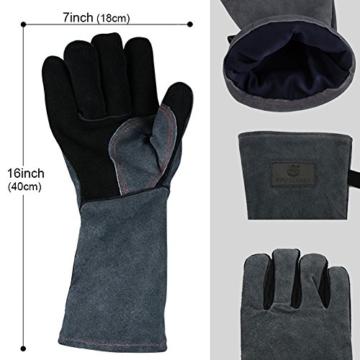 APOGO Ofenhandschuhe Backhandschuhe Grillhandschuhe Handschuhe 1 Paar Leder Grill Handschuhe 41x15X1.5cm Wildleder, mit Aufhängung, Topflappen für Küche und Grill Grillplatz Mikrowelle Handschuhe Schweißen - 5