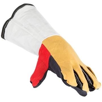 Bruzzzler Grillhandschuhe feuerfest / Grill Lederhandschuhe, lang, in Universalgröße, hitzebeständiger Handschuh für BBQ, Kamin, Backofen, Gasgrill und Holzkohlengrill – hochwertig verarbeitet - 5