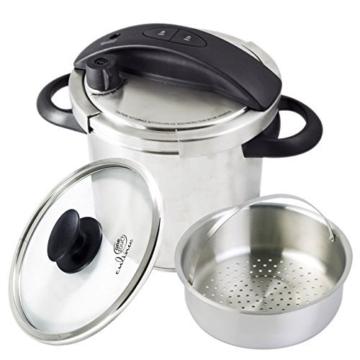 Culina® Edelstahl-Schnellkochtopf, 5.6 Liter, Einhandbedienung, inkl. Dampfkorb - 1