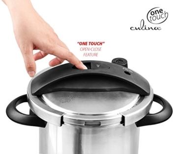 Culina® Edelstahl-Schnellkochtopf, 5.6 Liter, Einhandbedienung, inkl. Dampfkorb - 6