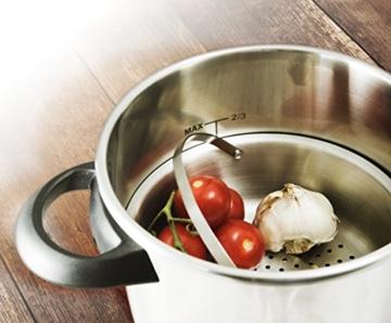 Culina® Edelstahl-Schnellkochtopf, 5.6 Liter, Einhandbedienung, inkl. Dampfkorb - 8