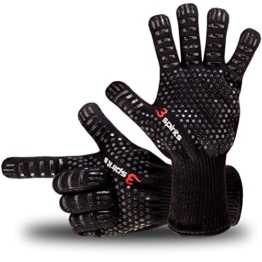 Designer Finger Backhandschuhe, Grillhandschuhe, Ofenhandschuhe, hitzebeständig, 30 cm lang, Zertifikat, Premium Qualität, bis 350°C, 1 Paar Fingerhandschuhe, verwendbar als Topfhandschuhe, Schutzhandschuhe. - 1