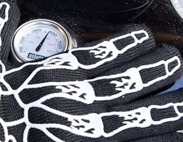 Designer Premium Grillhandschuhe, der GRILL-HINGUCKER, Ofenhandschuhe, 33 cm lang mit EN407 Zertifikat bis 350°C, 1 Paar Backhandschuhe, Kaminhandschuhe, verwendbar auch als Topfhandschuhe, Schutzhandschuhe - 6
