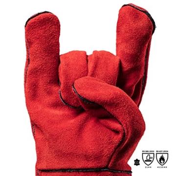 Feuermeister Premium BBQ Grillhandschuh aus hochwertigem Leder in Rot, Größe 10, 1 Paar - 2