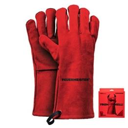 Feuermeister Premium BBQ Grillhandschuh aus hochwertigem Leder in Rot, Größe 10, 1 Paar - 1