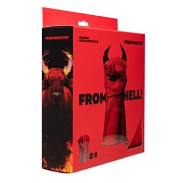 Feuermeister Premium BBQ Grillhandschuh aus hochwertigem Leder in Rot, Größe 10, 1 Paar - 4