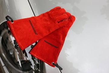 Feuermeister Premium BBQ Grillhandschuh aus hochwertigem Leder in Rot, Größe 10, 1 Paar - 5