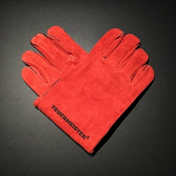 Feuermeister Premium BBQ Grillhandschuh aus hochwertigem Leder in Rot, Größe 10, 1 Paar - 7