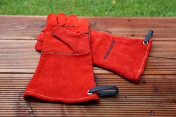 Feuermeister Premium BBQ Grillhandschuh aus hochwertigem Leder in Rot, Größe 10, 1 Paar - 9