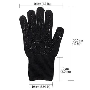 Grillhandschuhe, 1 Paar Amorus Ofenhandschuhe, hitzebeständig bis zu 500°C, , Extra lange Topfhandschuhe, Backhandschuhe-schwarz (Schwarz) - 3