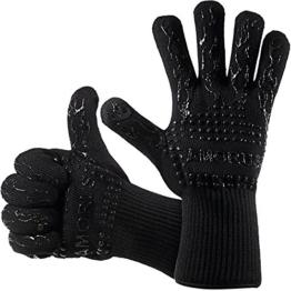 Grillhandschuhe, 1 Paar Amorus Ofenhandschuhe, hitzebeständig bis zu 500°C, , Extra lange Topfhandschuhe, Backhandschuhe-schwarz (Schwarz) - 1