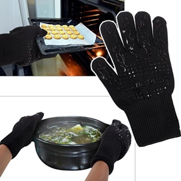 Grillhandschuhe, 1 Paar Amorus Ofenhandschuhe, hitzebeständig bis zu 500°C, , Extra lange Topfhandschuhe, Backhandschuhe-schwarz (Schwarz) - 5