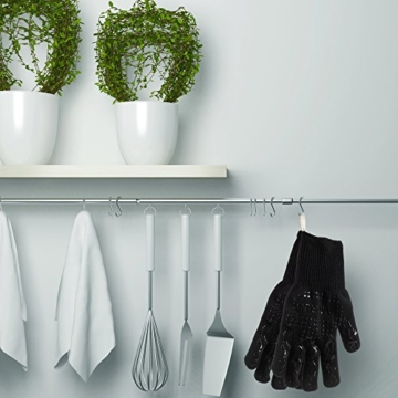 Grillhandschuhe, 1 Paar Amorus Ofenhandschuhe, hitzebeständig bis zu 500°C, , Extra lange Topfhandschuhe, Backhandschuhe-schwarz (Schwarz) - 6