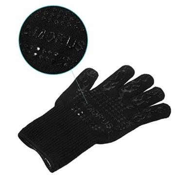 Grillhandschuhe, 1 Paar Amorus Ofenhandschuhe, hitzebeständig bis zu 500°C, , Extra lange Topfhandschuhe, Backhandschuhe-schwarz (Schwarz) - 7