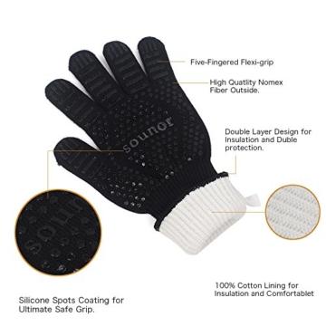 Grillhandschuhe, 1 Paar Bis 500°C Hitzebeständig EN407 Zertifizierte BBQ Handschuhe Aus Kevlar-Nomex Gewebe, Extra Lang Ofenhandschuhe, Topfhandschuhe, Backhandschuhe, von Sounor (Schwarz) - 3