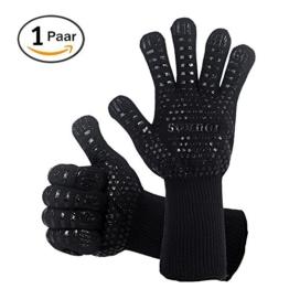 Grillhandschuhe, 1 Paar Bis 500°C Hitzebeständig EN407 Zertifizierte BBQ Handschuhe Aus Kevlar-Nomex Gewebe, Extra Lang Ofenhandschuhe, Topfhandschuhe, Backhandschuhe, von Sounor (Schwarz) - 1