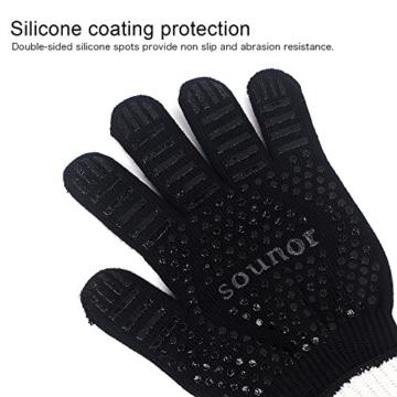 Grillhandschuhe, 1 Paar Bis 500°C Hitzebeständig EN407 Zertifizierte BBQ Handschuhe Aus Kevlar-Nomex Gewebe, Extra Lang Ofenhandschuhe, Topfhandschuhe, Backhandschuhe, von Sounor (Schwarz) - 4
