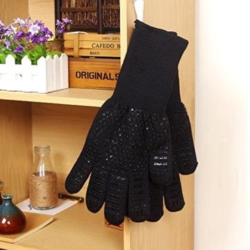 Grillhandschuhe, 1 Paar Bis 500°C Hitzebeständig EN407 Zertifizierte BBQ Handschuhe Aus Kevlar-Nomex Gewebe, Extra Lang Ofenhandschuhe, Topfhandschuhe, Backhandschuhe, von Sounor (Schwarz) - 5