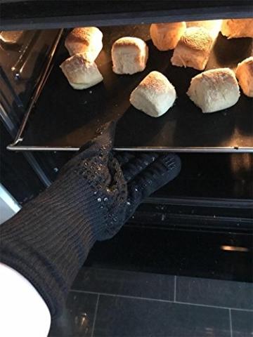 Grillhandschuhe, 1 Paar Bis 500°C Hitzebeständig EN407 Zertifizierte BBQ Handschuhe Aus Kevlar-Nomex Gewebe, Extra Lang Ofenhandschuhe, Topfhandschuhe, Backhandschuhe, von Sounor (Schwarz) - 6