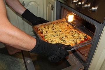 Grillhandschuhe, 1 Paar Bis 500°C Hitzebeständig EN407 Zertifizierte BBQ Handschuhe Aus Kevlar-Nomex Gewebe, Extra Lang Ofenhandschuhe, Topfhandschuhe, Backhandschuhe, von Sounor (Schwarz) - 7
