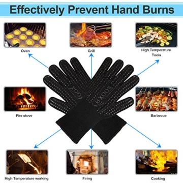 Grillhandschuhe (2er Set) bis zu 500 °C - EN407 Zertifizierte, Kaminhandschuhe, Kochenhandschuh, Ofenhandschuhe, Finger-Design zum Schutz gegen Schneiden, Silikon Aramidfasern, bequem und haltbar, Hitzebeständiger Handschuh für Barbecue, Küche, Backofen, Mikrowellenherd - Eine Größe passt fast allen, Schwarz - 5