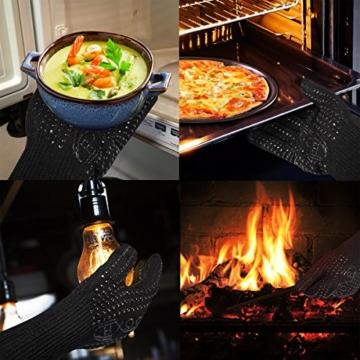 Grillhandschuhe (2er Set) bis zu 500 °C - EN407 Zertifizierte, Kaminhandschuhe, Kochenhandschuh, Ofenhandschuhe, Finger-Design zum Schutz gegen Schneiden, Silikon Aramidfasern, bequem und haltbar, Hitzebeständiger Handschuh für Barbecue, Küche, Backofen, Mikrowellenherd - Eine Größe passt fast allen, Schwarz - 7