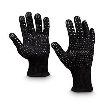 Grillhandschuhe GROß (2er Set, Paar) Ofenhandschuhe bis 500 Grad hitzebeständig mit Grillbürste, EN407 zertifiziert, feuerfeste sichere schwarze BBQ-Backhandschuhe für Männer und Frauen - 8