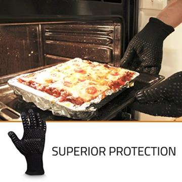 Grillhandschuhe GROß (2er Set, Paar) Ofenhandschuhe bis 500 Grad hitzebeständig mit Grillbürste, EN407 zertifiziert, feuerfeste sichere schwarze BBQ-Backhandschuhe für Männer und Frauen - 9
