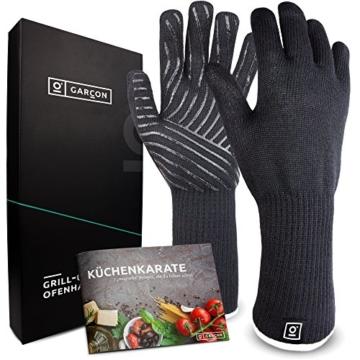 Grillhandschuhe hitzebeständig bis zu 500 Grad von GARCON I 36 cm extra lang & feuerfest I Premium Ofenhandschuhe - 1