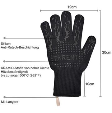 Grillhandschuhe – hitzebeständig bis zu 500°C, 1 Paar, Hochwertige extra lange Ofenhandschuhe, Topfhandschuhe, Backhandschuhe, von Tarent - 2
