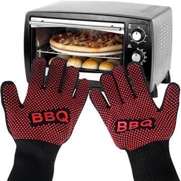 Grillhandschuhe, Irady BBQ Grille Handschuhe Hitzebeständig Ofenhandschuhe Professionelle topfhandschuhe Grillhandschuhe Silikon Backhandschuhe zum Grillen, Kochen, Grillen-Extra lange Topfhandschuhe für extreme Sicherheit -1 Paar - 3