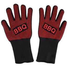 Grillhandschuhe, Irady BBQ Grille Handschuhe Hitzebeständig Ofenhandschuhe Professionelle topfhandschuhe Grillhandschuhe Silikon Backhandschuhe zum Grillen, Kochen, Grillen-Extra lange Topfhandschuhe für extreme Sicherheit -1 Paar - 1