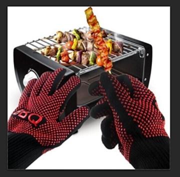 Grillhandschuhe, Irady BBQ Grille Handschuhe Hitzebeständig Ofenhandschuhe Professionelle topfhandschuhe Grillhandschuhe Silikon Backhandschuhe zum Grillen, Kochen, Grillen-Extra lange Topfhandschuhe für extreme Sicherheit -1 Paar - 4