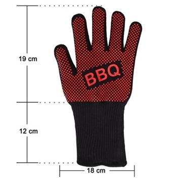 Grillhandschuhe, Irady BBQ Grille Handschuhe Hitzebeständig Ofenhandschuhe Professionelle topfhandschuhe Grillhandschuhe Silikon Backhandschuhe zum Grillen, Kochen, Grillen-Extra lange Topfhandschuhe für extreme Sicherheit -1 Paar - 6