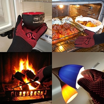 Grillhandschuhe, Irady BBQ Grille Handschuhe Hitzebeständig Ofenhandschuhe Professionelle topfhandschuhe Grillhandschuhe Silikon Backhandschuhe zum Grillen, Kochen, Grillen-Extra lange Topfhandschuhe für extreme Sicherheit -1 Paar - 8