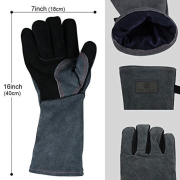Grillhandschuhe mit kostenlose Grillbürste, Ofenhandschuhe, 40cm Extra Lange Ärmel Hitzebeständig Lederhandschuh - 4