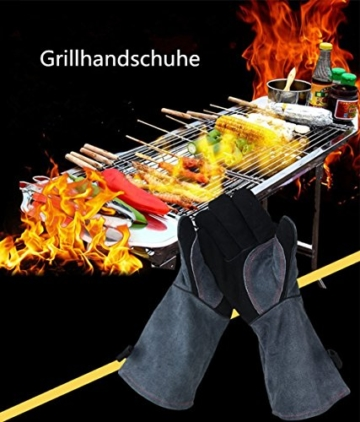 Grillhandschuhe mit kostenlose Grillbürste, Ofenhandschuhe, 40cm Extra Lange Ärmel Hitzebeständig Lederhandschuh - 6