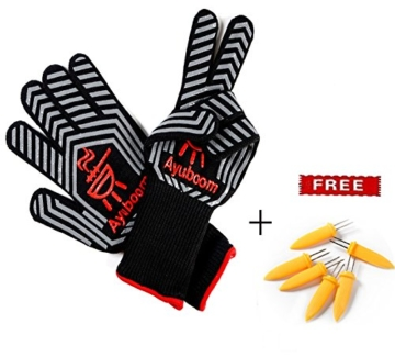 Grillhandschuhe,Premium Ofenhandschuhe,Extra Lange Topfhandschuhe,Backhandschuh, Extrem Hitzebeständige Sicherheit,Schwarz,1 Paar von Ayuboom - 2
