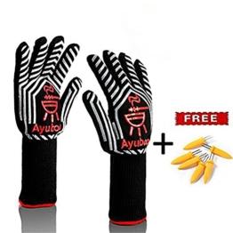Grillhandschuhe,Premium Ofenhandschuhe,Extra Lange Topfhandschuhe,Backhandschuh, Extrem Hitzebeständige Sicherheit,Schwarz,1 Paar von Ayuboom - 1