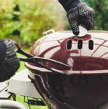 Hochwertige Grillhandschuhe (ein Paar) - Hitzebeständig Bis Zu 500 °C – Nach EN407 Zertifizierte Ofenhandschuhe Aus Kevlar-Nomex Fasern – Kaminhandschuhe Extra Lang - 4